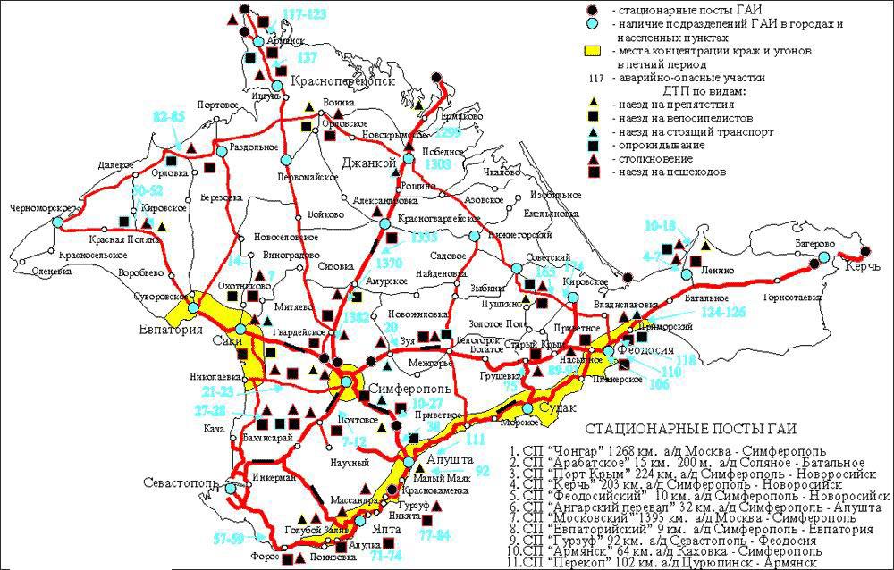 карта автодорог крыма с километражом того, что