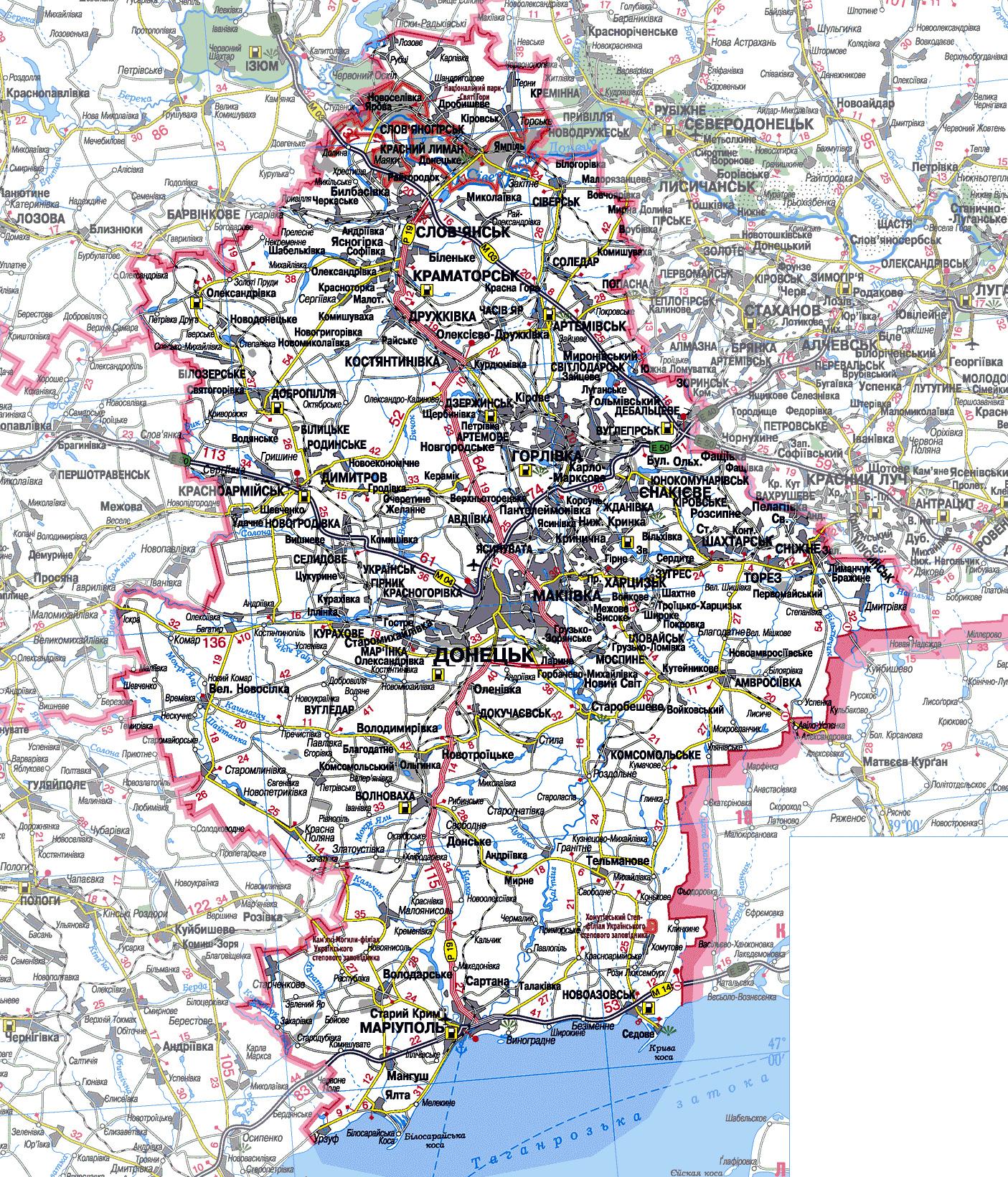 Карта транспортного сообщения Донецкой области. Границы ...: http://www.ua-maps.com/map-42/