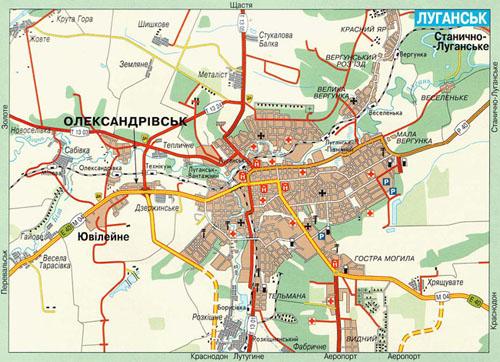 Карта луганска подробная карта